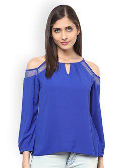 109F Women Blue Solid Top
