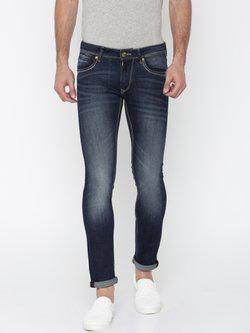American Bull Men Blue Skinny Fit Mid-Rise Clean Look Stretchable Jeans