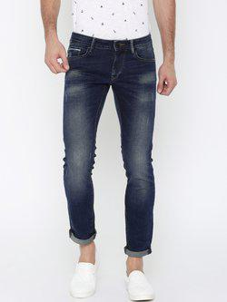 American Bull Men Blue Skinny Fit Mid-Rise Low Distress Stretchable Jeans