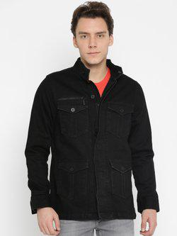 American Bull Men Black Solid Denim Jacket