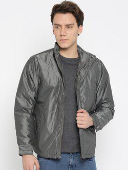 American Bull Men Grey Solid Padded Jacket