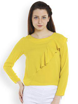 109F Women Yellow Solid Tiered Top