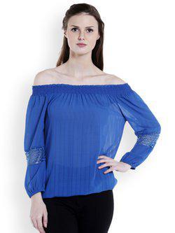 109F Women Blue Solid Bardot Top