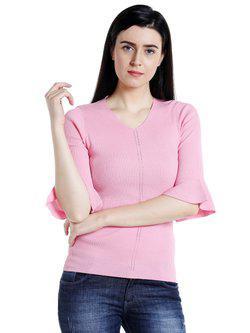 109F Women Pink Self-Striped Top