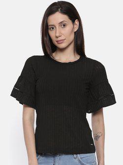 109F Women Black Striped Semi-Sheer Top
