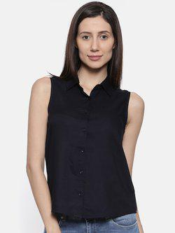 109F Women Navy Blue Solid Shirt Style Top