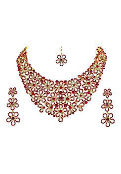 Mithya collection Red CZ Rhinestone Necklace Maang Tikka Set