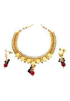 Gold Plated Ruby Emerald Temple Jewelry Necklace Set