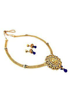 Royal Blue Peacock Gold Plated Long Pearl Kundan Necklace Earring Set