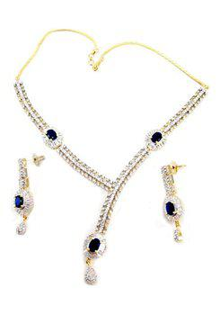 American diamond Blue Sapphire Baguette Necklace set
