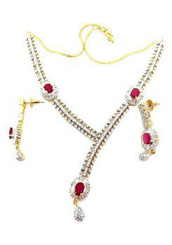 American Diamond Ruby Baguette Necklace Set