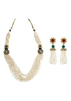 Multistrand Pearl Black Meenakari CZ Gold Plated Long Necklace Set