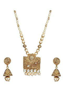Party Wear Pearl Kundan Cubic Zirconia Copper Gold Plated Necklace Set