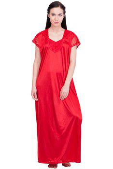 Lesuzaki Long Red nighty for women's