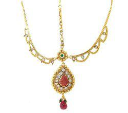 9blings Copper reverse ad Polki Ethnic Ruby green Gold Plated Mathapatti Maang Tikka Head Jewellery