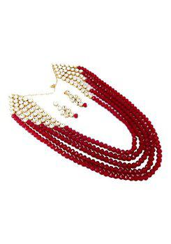 9blings Maharani Style Cubic Zirconia Red Beads 5 Line Gold Plated Necklace Earring Set