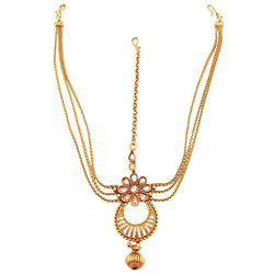 9blings Copper reverse AD Gold Plated Mathapatti Maang Tikka For Women