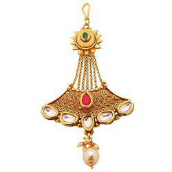 9blings Ruby Kundan Pearl Muslim Gold Plated Passa Jhoomar Hair Accessory For Women