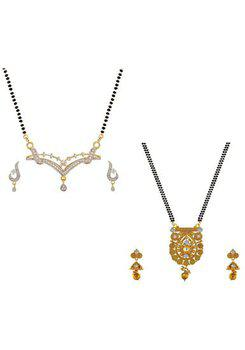 Aabhu CMB960b Fashionable Combo of 2 Mangalsutra with Chain and Earrings Jewellery Set for Women
