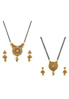 Aabhu CMB953b Stylish Combo of 2 Mangalsutra with Chain and Earrings Jewellery Set for Women