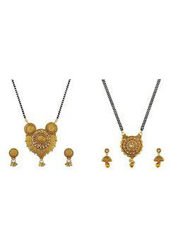 Aabhu CMB989c Conventional Combo of 2 Mangalsutra with Chain and Earrings Jewellery Set for Women