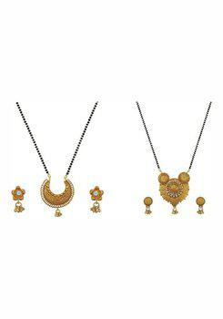 Aabhu CMB982c Stylish Combo of 2 Mangalsutra with Chain and Earrings Jewellery Set for Women