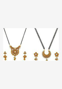 Aabhu CMB993c Traditional Combo of 2 Mangalsutra with Chain and Earrings Jewellery Set for Women