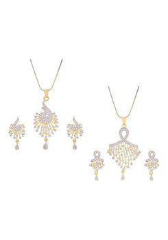 Aabhu CMB428 Gold Plated American Diamond Combo of 2 Conventional Pendant Set Necklace With Earrings Jewellery For Women And Girls