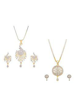 Aabhu CMB429 Gold Plated American Diamond Combo of 2 Regular Pendant Set Necklace With Earrings Jewellery For Women And Girls