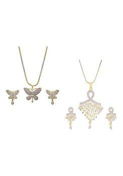 Aabhu CMB421 Gold Plated American Diamond Combo of 2 Stylish Pendant Set Necklace With Earrings Jewellery For Women And Girls
