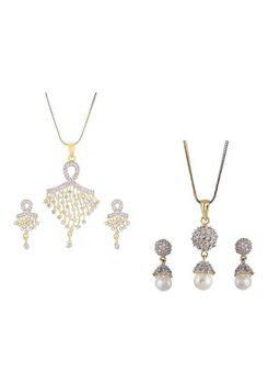 Aabhu CMB441 Gold Plated American Diamond Combo of 2 Stylish Pendant Set Necklace With Earrings Jewellery For Women And Girls