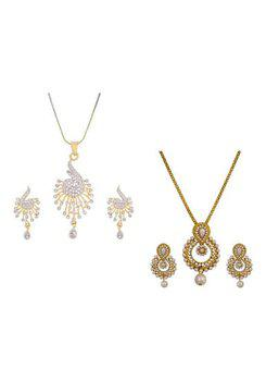 Aabhu CMB432 Gold Plated American Diamond Combo of 2 Fashionable Pendant Set Necklace With Earrings Jewellery For Women And Girls