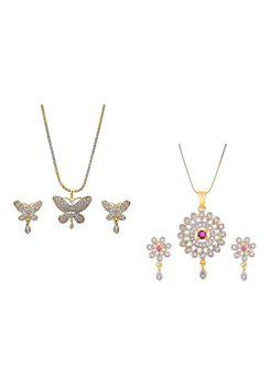 Aabhu CMB424 Gold Plated American Diamond Combo of 2 Trendy Pendant Set Necklace With Earrings Jewellery For Women And Girls
