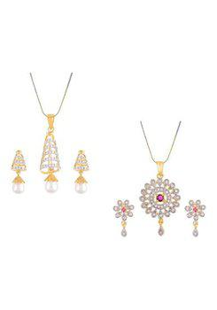 Aabhu CMB416 Gold Plated American Diamond Combo of 2 Glamorous Pendant Set Necklace With Earrings Jewellery For Women And Girls
