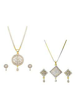 Aabhu CMB448 Gold Plated American Diamond Combo of 2 Conventional Pendant Set Necklace With Earrings Jewellery For Women And Girls