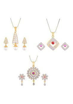 Aabhu CMB461 Gold Plated American Diamond Combo of 3 Glamorous Pendant Set Necklace With Earrings Jewellery For Women And Girls
