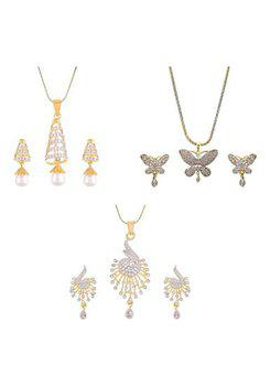Aabhu CMB473 Gold Plated American Diamond Combo of 3 Trendy Pendant Set Necklace With Earrings Jewellery For Women And Girls