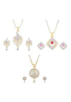 Aabhu CMB466 Gold Plated American Diamond Combo of 3 Stylish Pendant Set Necklace With Earrings Jewellery For Women And Girls