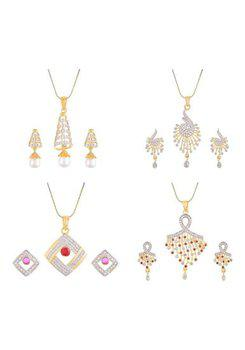 Aabhu CMB500 Gold Plated American Diamond Combo of 4 Fashionable Pendant Set Necklace With Earrings Jewellery For Women And Girls