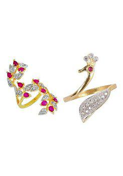 Aabhu CMB347 American Diamond Fashionable Combo of 2 Party Wear Finger Rings Jewellery For Women And Girls