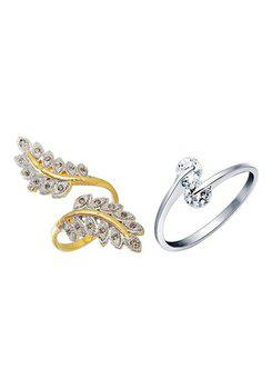 Aabhu CMB367 American Diamond Fashionable Combo of 2 Party Wear Finger Rings Jewellery For Women And Girls
