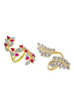 Aabhu CMB348 American Diamond Modish Combo of 2 Party Wear Finger Rings Jewellery For Women And Girls