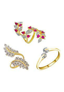 Aabhu CMB387 American Diamond Fashionable Combo of 3 Party Wear Finger Rings Jewellery For Women And Girls