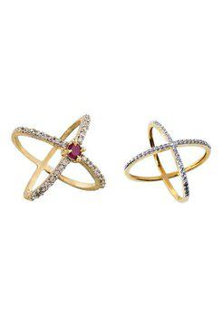 Aabhu CMB368 American Diamond Modish Combo of 2 Party Wear Finger Rings Jewellery For Women And Girls