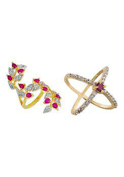 Aabhu CMB349 American Diamond Modern Combo of 2 Party Wear Finger Rings Jewellery For Women And Girls
