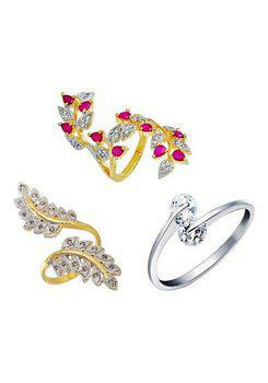 Aabhu CMB388 American Diamond Modish Combo of 3 Party Wear Finger Rings Jewellery For Women And Girls