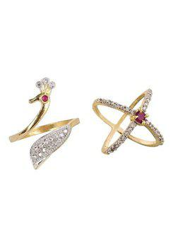 Aabhu CMB360 American Diamond Popular Combo of 2 Party Wear Finger Rings Jewellery For Women And Girls