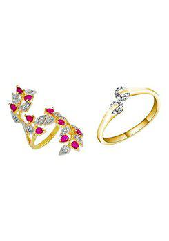 Aabhu CMB351 American Diamond Glamorous Combo of 2 Party Wear Finger Rings Jewellery For Women And Girls