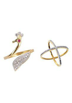 Aabhu CMB361 American Diamond Glamorous Combo of 2 Party Wear Finger Rings Jewellery For Women And Girls