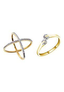 Aabhu CMB371 American Diamond Glamorous Combo of 2 Party Wear Finger Rings Jewellery For Women And Girls